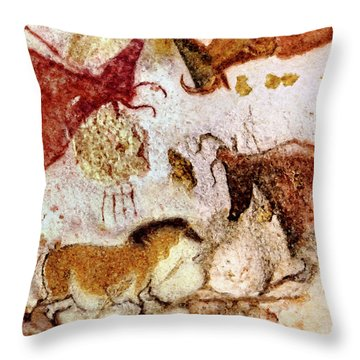 Lascaux Horse And Cows Throw Pillow
