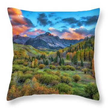 Throw Pillow featuring the photograph Last Light Mount Sneffels by Bitter Buffalo Photography