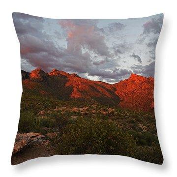 Last Light On Catalina Mountains Throw Pillow