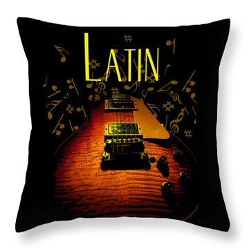 Latin Guitar Music Notes Throw Pillow