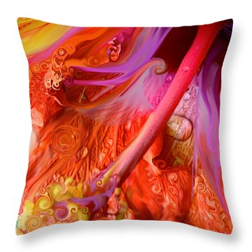Throw Pillow featuring the digital art Laughing Hibiscus by Cindy Greenstein