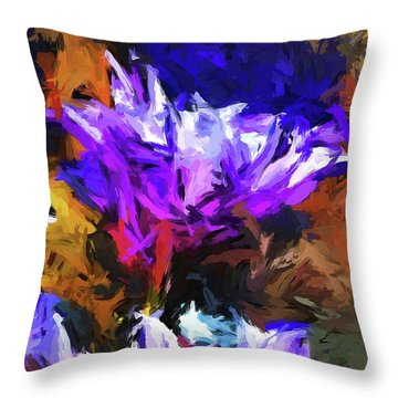 Lavender Flower And The Cobalt Blue Reflection Throw Pillow