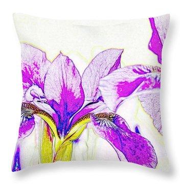 Lavender Irises Throw Pillow