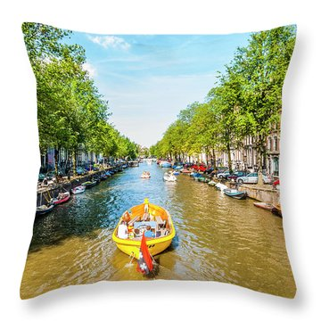 Lazy Sunday On The Canal Throw Pillow