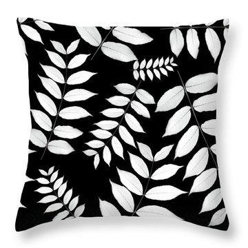 Leaf Pattern Black And White Throw Pillow