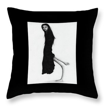Leaning Woman Ghost - Artwork Throw Pillow