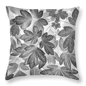 Throw Pillow featuring the photograph Leaves Black And White Plant Pattern by Christina Rollo