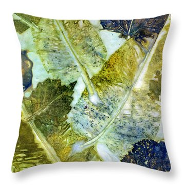 Leaves Of Nature Eco Dyed Print Throw Pillow
