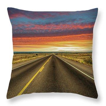 Leaving Lubbock Vanishing Point Throw Pillow