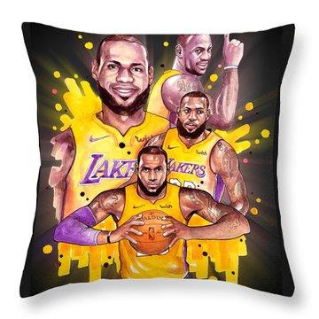 Lebron James, Los Angeles Lakers, Nba Throw Pillow