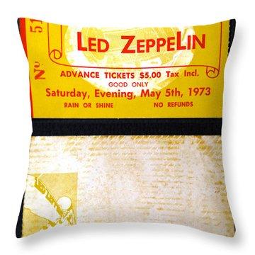 Led Zeppelin 1973 Concert Ticket Throw Pillow