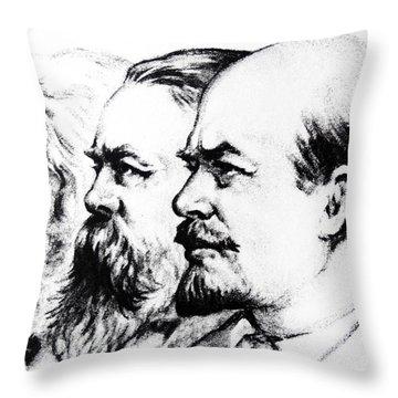 Left To Right Karl Marx Friedrich Engels Vladimir Lenin Throw Pillow