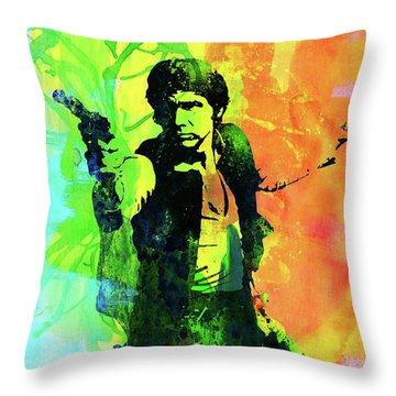 Legendary Han Solo Watercolor Throw Pillow