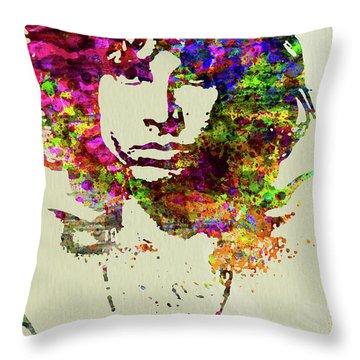 Legendary Jim Morrison Watercolor Throw Pillow