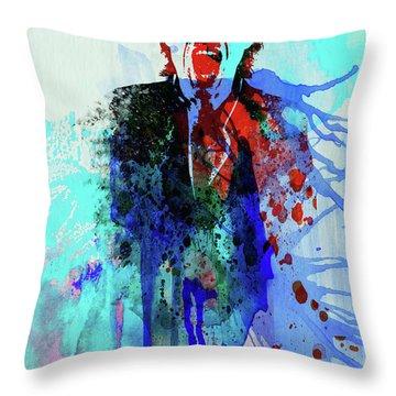 Legendary Mick Jagger Watercolor Throw Pillow