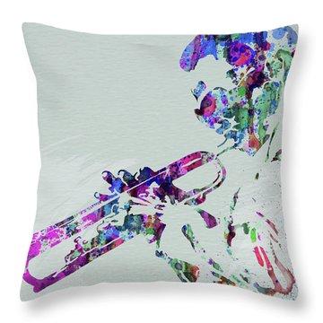 Legendary Miles Davis Watercolor Throw Pillow