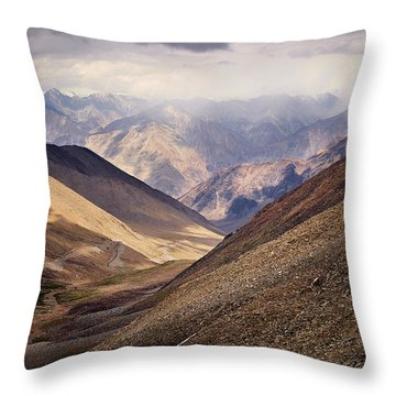 Throw Pillow featuring the photograph Leh-manali Mountains by Whitney Goodey