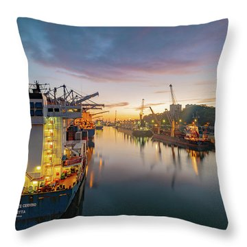 Throw Pillow featuring the photograph Leixoes Harbour by Bruno Rosa