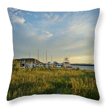 Leland Harbor At Sunset Throw Pillow