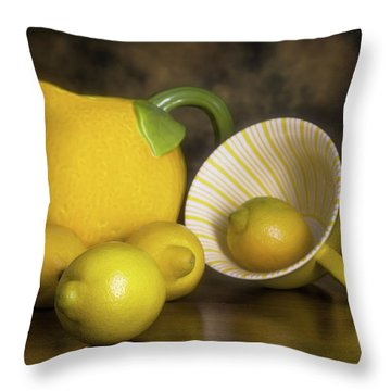 Lemons With Lemon Shaped Pitcher Throw Pillow