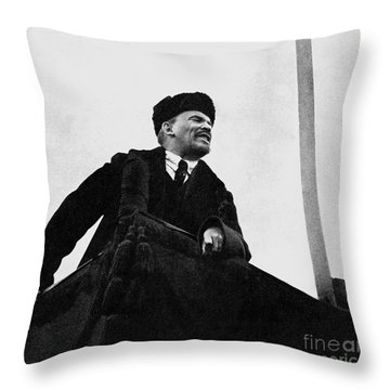 Lenin, During A Speech In Red Square On The 1st Anniversary Of The October Revolution Throw Pillow