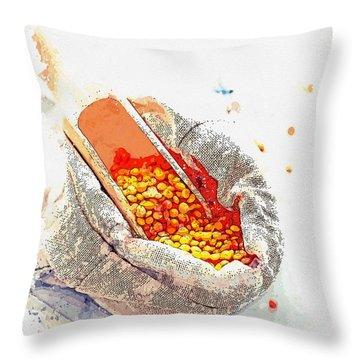 Lentils -  Watercolor By Ahmet Asar Throw Pillow