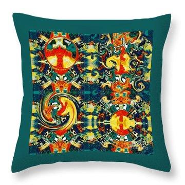Throw Pillow featuring the digital art Les Quatre Elements by A zakaria Mami