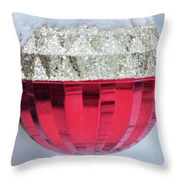 Throw Pillow featuring the photograph Let It Snow On The Red Christmas Ball - Outside Winter Scene  by Cristina Stefan