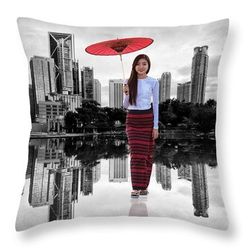 Throw Pillow featuring the digital art Let The City Be Your Stage by ISAW Company