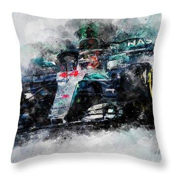 Lewis Hamilton, Mercedes Amg F1 W09 - 10 Throw Pillow