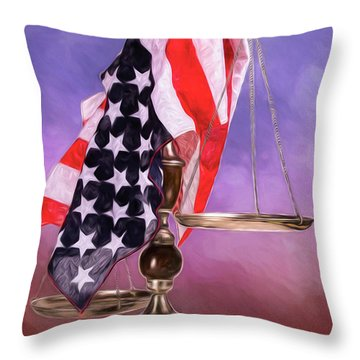 Liberty And Justice For All Throw Pillow