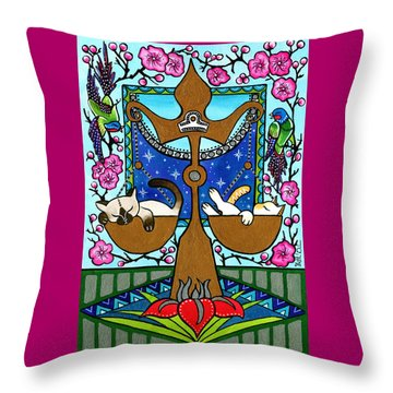 Libra Cat Zodiac Throw Pillow