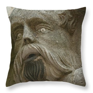 Life Sized Sculptures Of Human Heads Throw Pillow