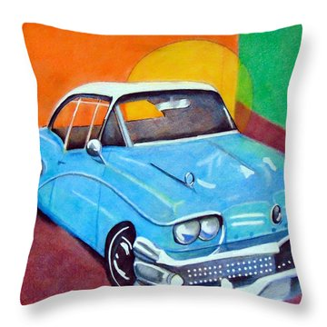 Light Blue 1950s Car  Throw Pillow
