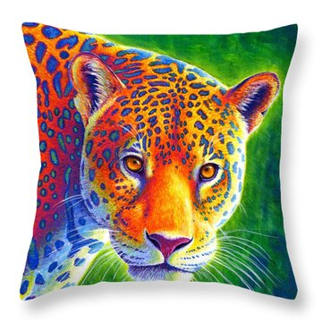 Light In The Rainforest - Jaguar Throw Pillow