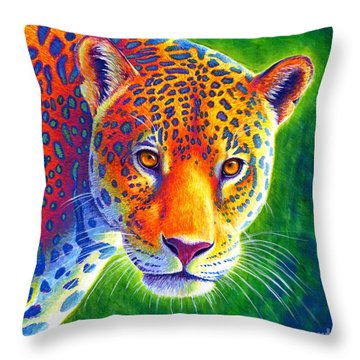 Light In The Rainforest - Jaguar Throw Pillow