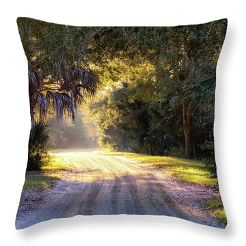 Light, Shadows And An Old Dirt Road Throw Pillow