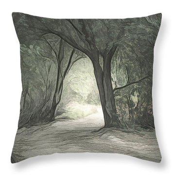 Light Through The Trees Sketch Throw Pillow