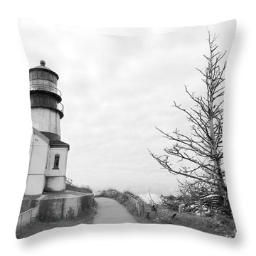 Lighthouse And Tree Lean In Bw Throw Pillow