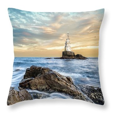 Lighthouse In Ahtopol, Bulgaria Throw Pillow