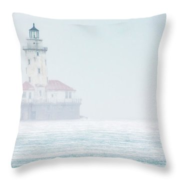 Lighthouse In The Mist Throw Pillow