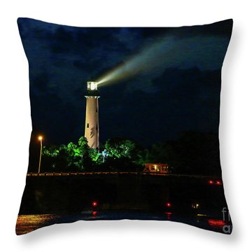 Throw Pillow featuring the photograph Lighthouse Lightbeam by Tom Claud