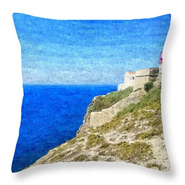 Lighthouse On Top Of A Cliff Overlooking The Blue Ocean On A Sunny Day, Painted In Oil On Canvas. Throw Pillow