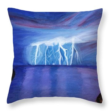 Lightning On The Sea At Night Throw Pillow