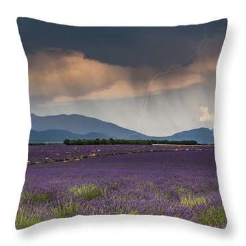 Lightning Over Lavender Field Throw Pillow