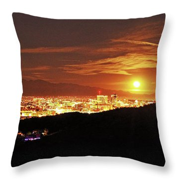 Lights Of Tucson And Moonrise Throw Pillow