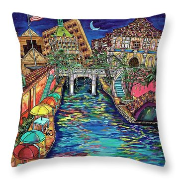 Lights On The Banks Of The River Throw Pillow