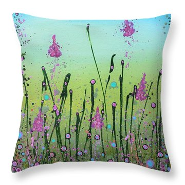 Lilacs And Bluebells Throw Pillow