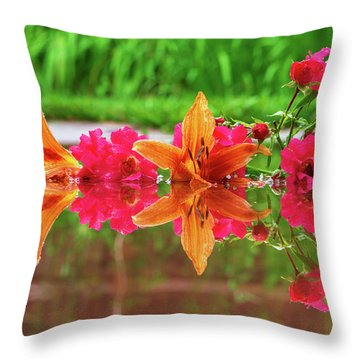 Lilies And Roses Reflection Throw Pillow