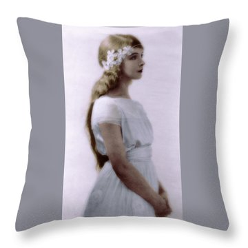 Throw Pillow featuring the photograph Lillian Gish Colorized by Robert G Kernodle